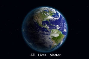 View of earth from space with the idea that all lives matter.